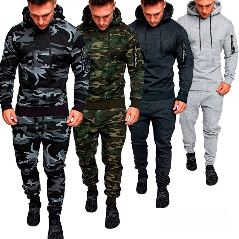 Tracksuit Men CamouflageTwo Pieces Set Hoodies +pants Sweatshirt With Hoody Sportswear Causal Mens Clothing Male Ropa Hombre