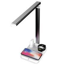 4 в 1 светодиодный настольный светильник Qi Беспроводное зарядное устройство для iPhone XS XR X 8 Apple Watch 4 3 Airpods samsung S10 S9 S8 USB адаптер