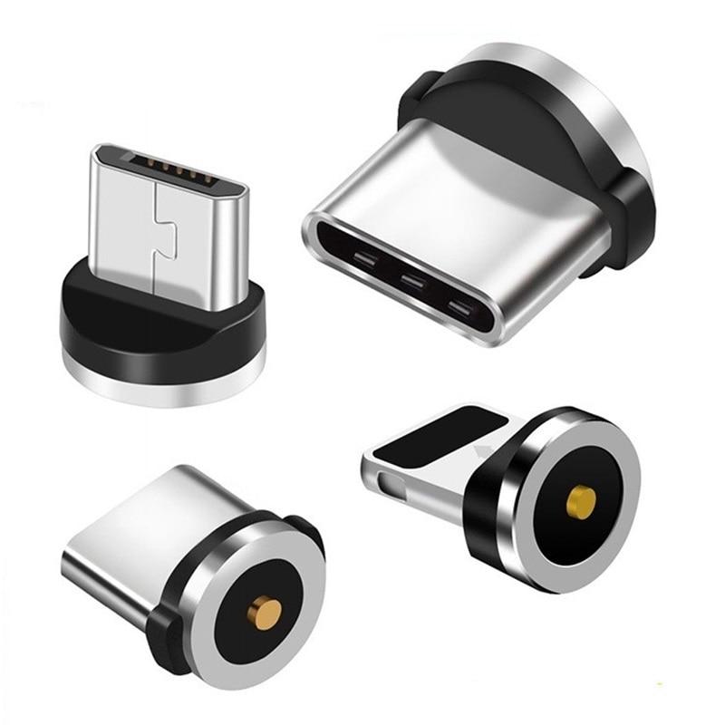 Круглый Магнитный кабель для подключения к сети Тип C Micro USB C 8 pin Вилки Быстрая Зарядка адаптер телефонный кабель Microusb Тип-C магнит Зарядное у...