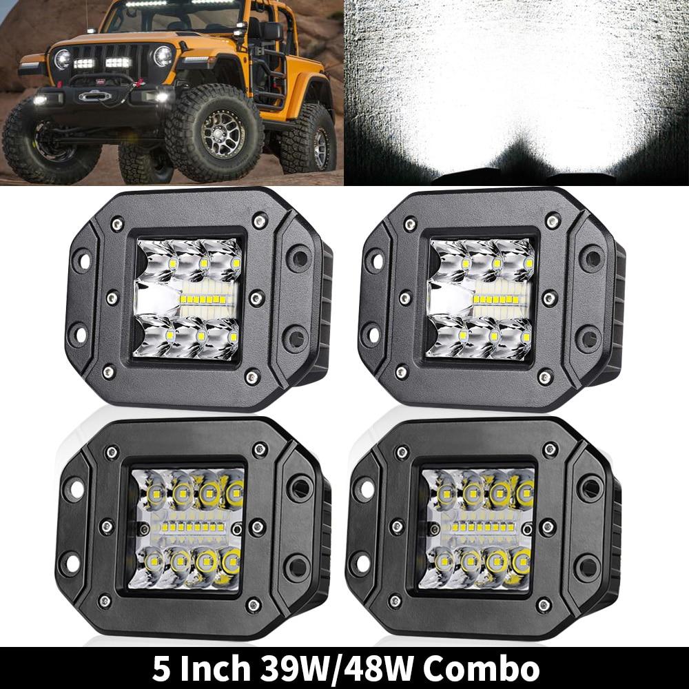 5 polegada CONDUZIU a Luz do Bar 39W 48W 12V Flush Mount Ponto Flood Trabalho Light Offroad LED Bar para 4x4 Off road Jeep ATV Trator Caminhões 24V