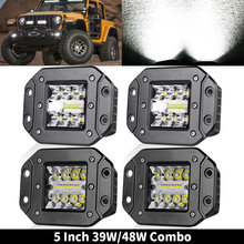 5 polegada CONDUZIU a Luz do Bar 39W 48W 12V Flush Mount Ponto Flood Trabalho Light Offroad LED Bar para 4x4 Off road Jeep ATV Trator Caminhões 24V