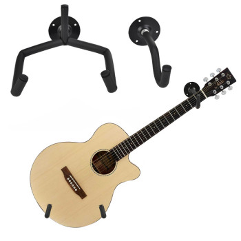 1/2Pcs Guitar Stand Hanger Hook Oak Horizontal Wall Mount Holder Rack Display Ukelele for Most