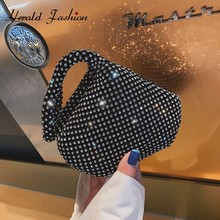 Herald Fashion Vintage Small Women Handbags Diamond Female Clutches Wrist Bags Small Casual wristlets Ladies' Party Evening Bag