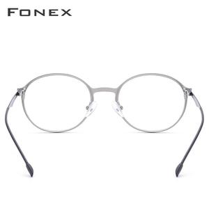 Image 5 - ラウンド処方メガネ、超軽量のチタン合金近視メガネフレーム、韓国スタイル無ねじ処方メガネ、男女共用 8821
