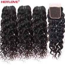 Brazilian Water Wave 3 Bundles Human Hair With Lace Closure 4*4 Free Part 4 Pcs/Lot Water Bundles With Closure Remy(China)