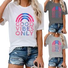 Mulheres Boas Vibrações Apenas Rainbow Soft Streetwear Top Engraçado Tee Gráficos Casuais Letras Moda Estética Floral T-Shirt