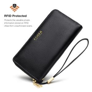 Image 3 - FOXER 女性の牛革財布女性ロングクラッチリストレット女性カードホルダー財布コイン財布携帯バッグ 256001F