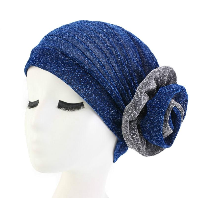 New Elegant Cotton 3D Flower Turban Women Muslim Scarf Cap Beanie Cap Headwear Bandana Wedding Party Hair Accessory Wholesale