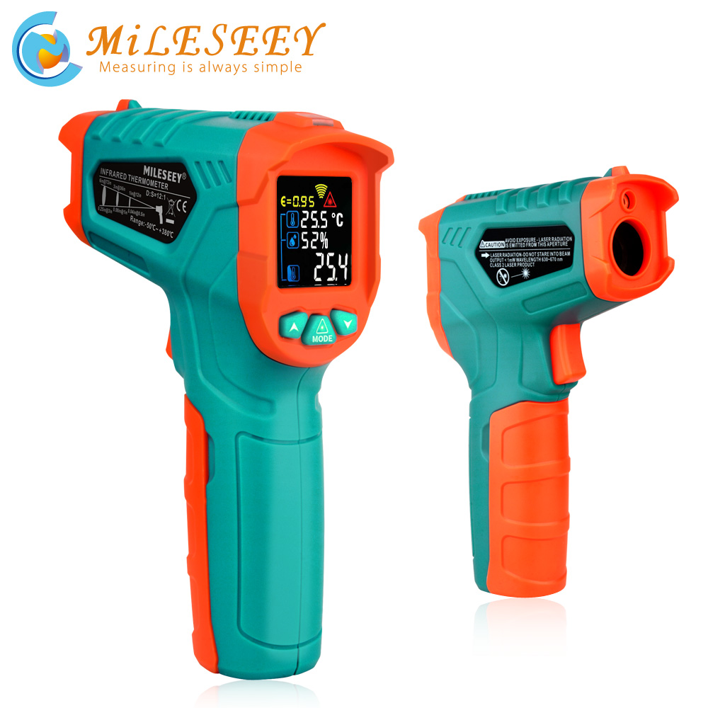 Mileseey Non contact digital temperature thermometer LCD Display  laser digital thermometer IR digital infrared thermometerTemperature  Instruments   -
