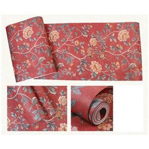Image 2 - פרח טפט לסלון אדום פרחוני קיר נייר בציר Chinoiserie מיטת חדר קישוט