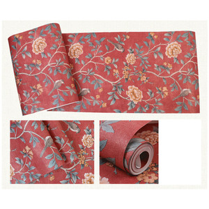 Image 2 - Flower Wallpaper For Living Room Red Floral Wall Paper Vintage Chinoiserie Bed room Decoration