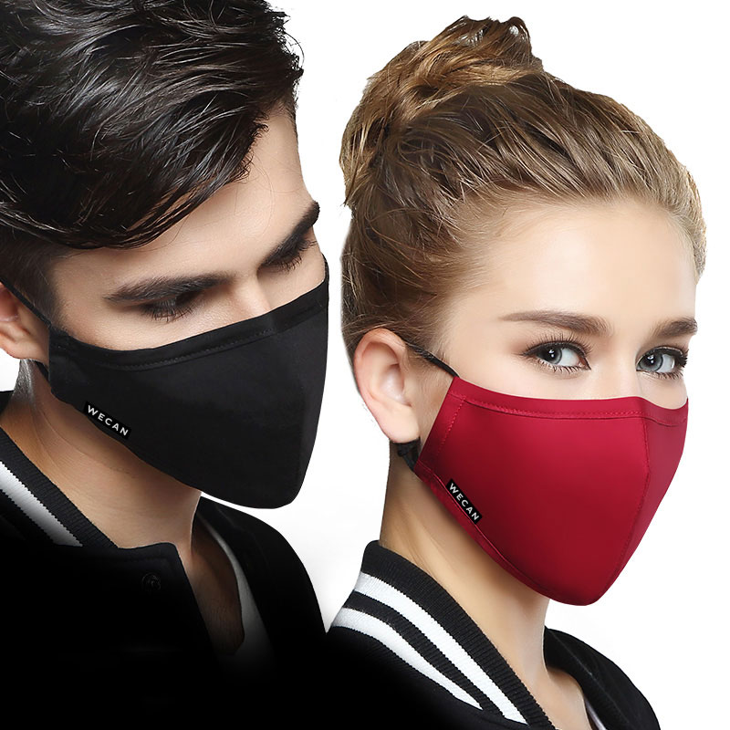 PM2.5 Cotton Black Mask Mouth Face Mask Anti Flu Dust Mouth Mask With 2pcs Activated Carbon Filter Korean Mask Fabric Face Mask
