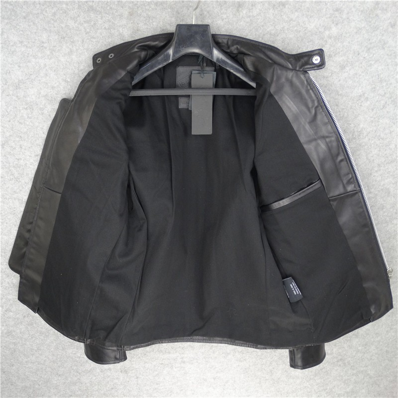 Harajuku Mens Top Quality Horsehide Real Leather Biker Jacket Gothic Zip Stand Collar Windbreaker Coat Streetwear Leather Jacket