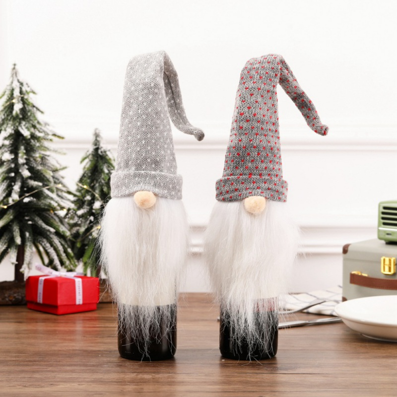 Christmas Wine Bottle Cover Long Hat Plush Gnome Wine Bottle Cap Topper Holiday Dining Table Decorations Decoracion Navidad 2019