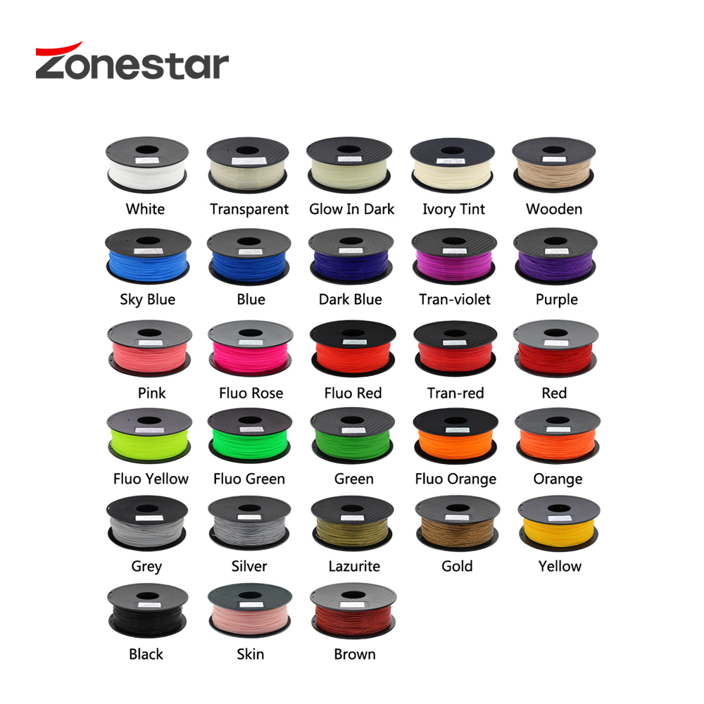 Zonestar Shipping From Russia 3D printer filament PLA 1.75mm plastic Consumables Material 4 Colors Red Blue White Black 1KG/Roll