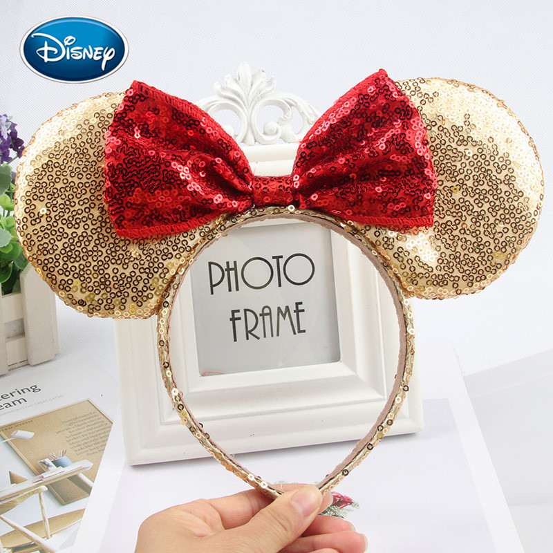 Disney Girl Headwear Minnie Mickey Ears Headband Hair Accessories Hairband Christmas Sequin Hair Bows For Girls Women Gift