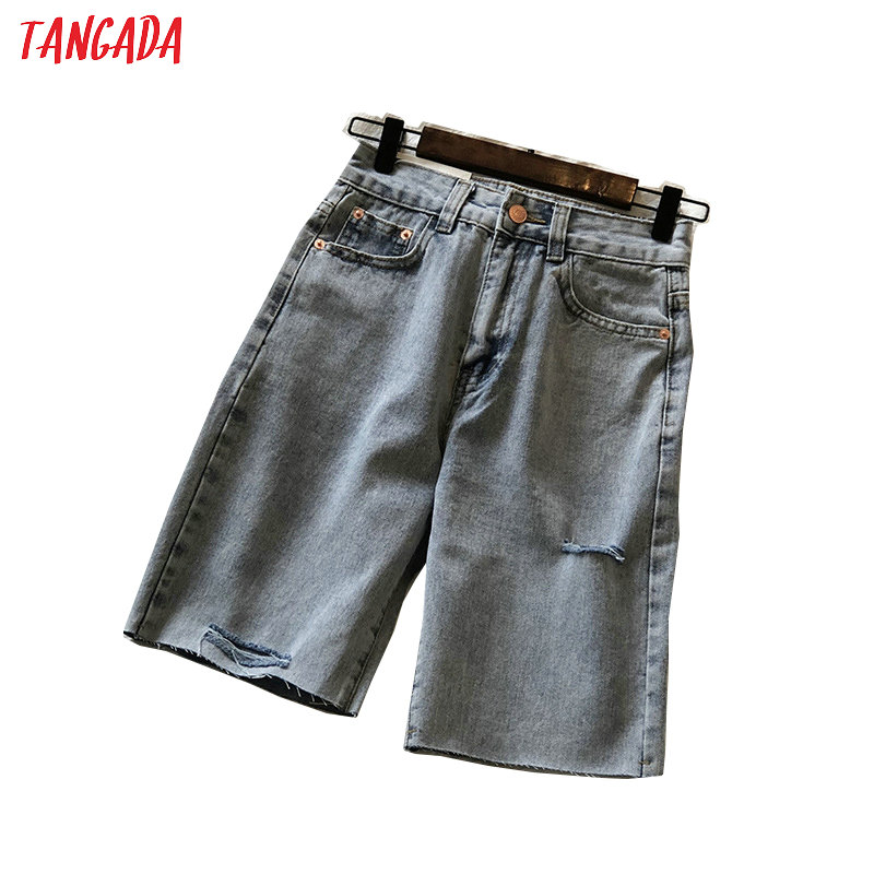 Tangada Women Elegant Jeans Shorts Ripped Hole Pockets Female Retro Casual Shorts Pantalones High Quality ASF16