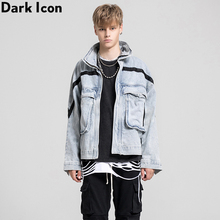 Dark Icon Denim Jacket Men Pockets Stand Collar Jeans Jacket Oversized Jackets for Man Street Fashion Clothing men pockets denim jacket