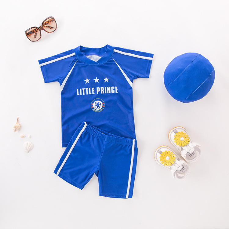 Men's Two-piece Swimsuits Blue Shirt With Hat-KID'S Swimwear Hot Springs Clothing