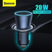 Baseus-cargador de coche PD de 20W, Cargador USB tipo C de carga rápida para iPhone 12 Pro Max Mini Soket, adaptador para encendedor de cigarrillos
