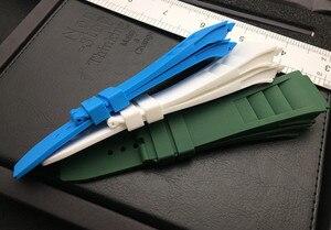 Image 4 - 25mm רך טבע סיליקון גומי רצועת השעון עבור ריצ רד שעון Mille רצועת להקת צמיד כתום כחול לבן אדום האביב בר סדרה