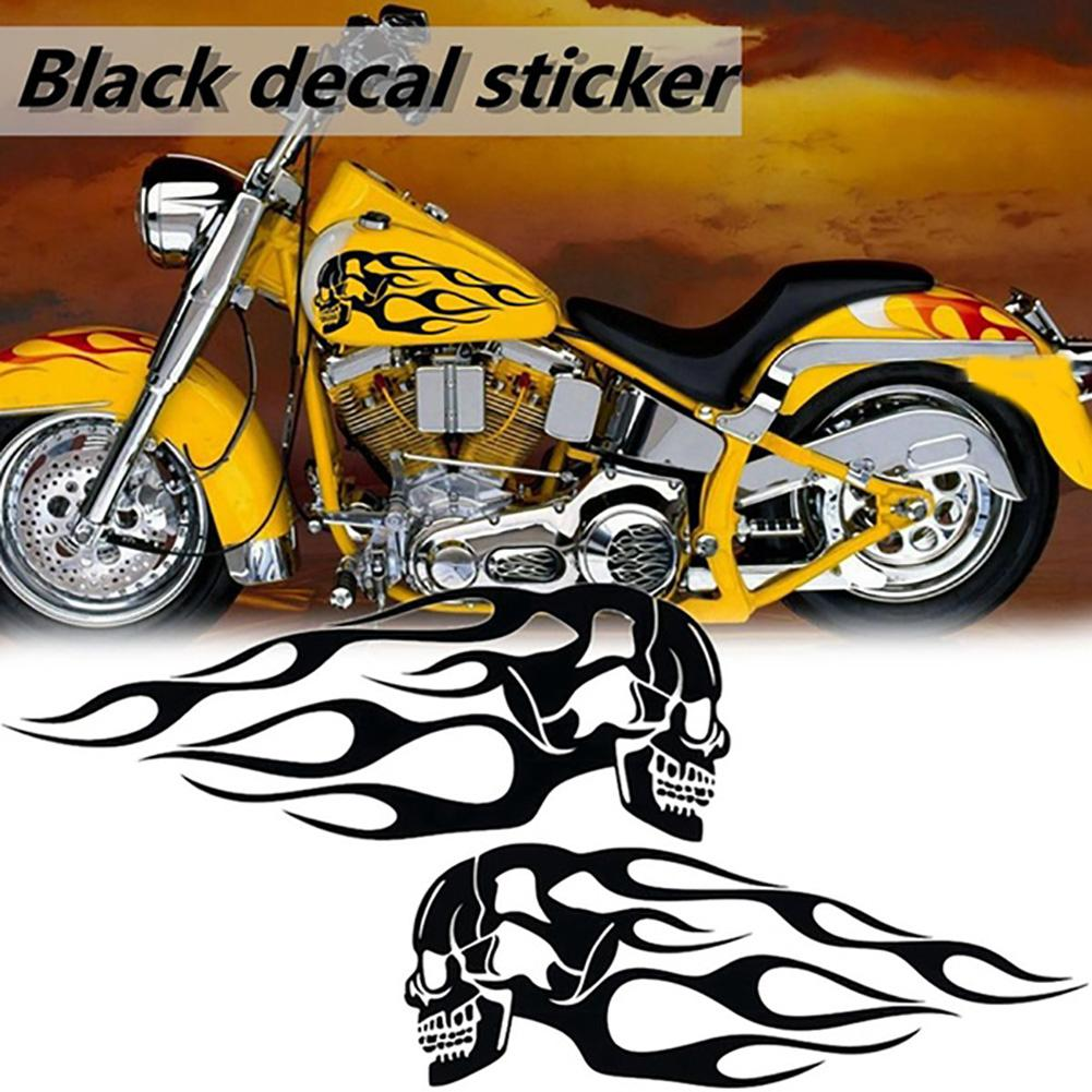 2019 New Stylish Creative 2Pcs Universal Motorcycle Gas Fuel Oil Tank Skull Flame Badge Decal Sticker New Hot Sale