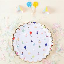 8 шт праздничные бумажные тарелки одноразовые лотки для бумаг творческие вечерние принадлежности для фестиваля