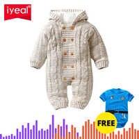 IYEAL Dicke Warme Infant Baby Strampler Winter Kleidung Neugeborenen Baby Junge Mädchen Strick Pullover Overall Mit Kapuze Kid Kleinkind Oberbekleidung