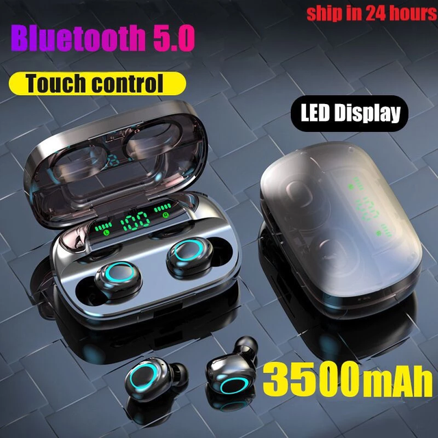 3500mAh LED Bluetooth Wireless Earphones Headphones Earbuds TWS Touch Control Sport Headset Noise Cancel Earphone Headphone 6