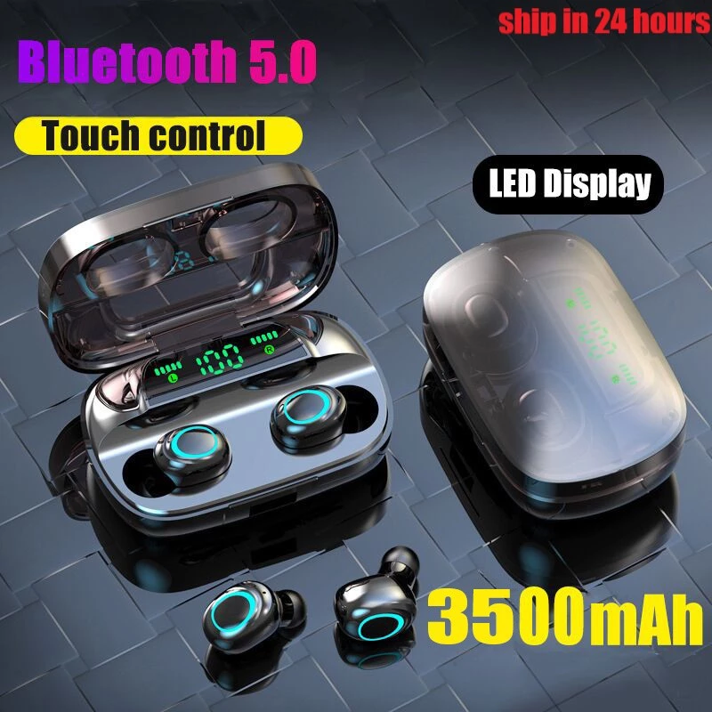 Auriculares inalámbricos Bluetooth LED de 3500mAh, auriculares con dos toques de Control, auriculares deportivos con cancelación de ruido