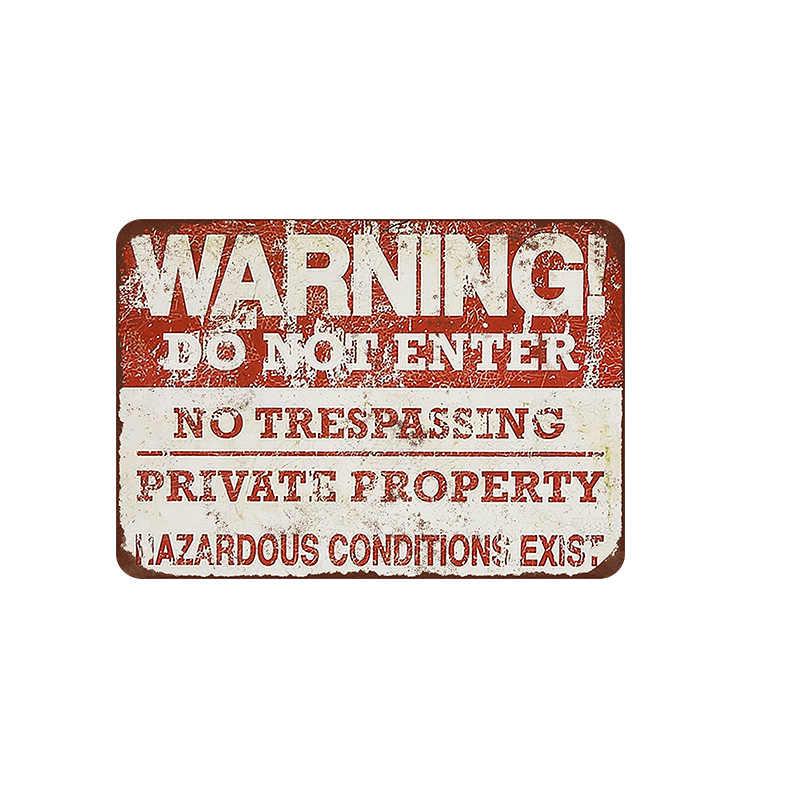Sinal de metal de segurança barra decoração da parede estanho sinal do vintage casa decoração pintura placas não estacionamento arte quadro negro cartaz