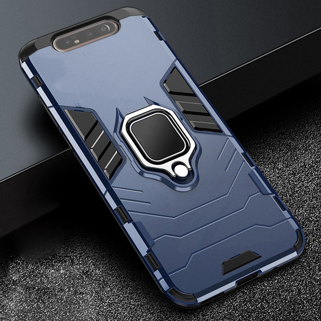 For Samsung Galaxy A80 Case Armor PC Cover Finger Ring Holder Phone Case For Samsung A 80 Case 360 Shockproof Bumper Hard Shell 1