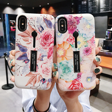 Fashion 3D Relief Flower Ring Phone loop Cases For iPhone 7 Case 8 6 Plus XS MAX XR Retro Flowers Slim Stand Soft Silicone Cover