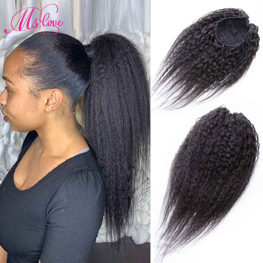 Kinky Straight Ponytail Human Hair Drawstring Ponytail With Clip Ins Coarse Yaki Puffy Brazilian Hair Extension Non Remy Ms Love