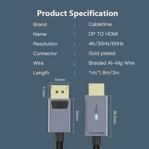 Image 5 - 2020 кабель CABLETIME DP в HDMI 4K/60 Гц, HDMI2.0 светодиодный конвертер Displayport для ноутбука, ПК, Macbook Air, Acer, Dell, кабель HDMI C313
