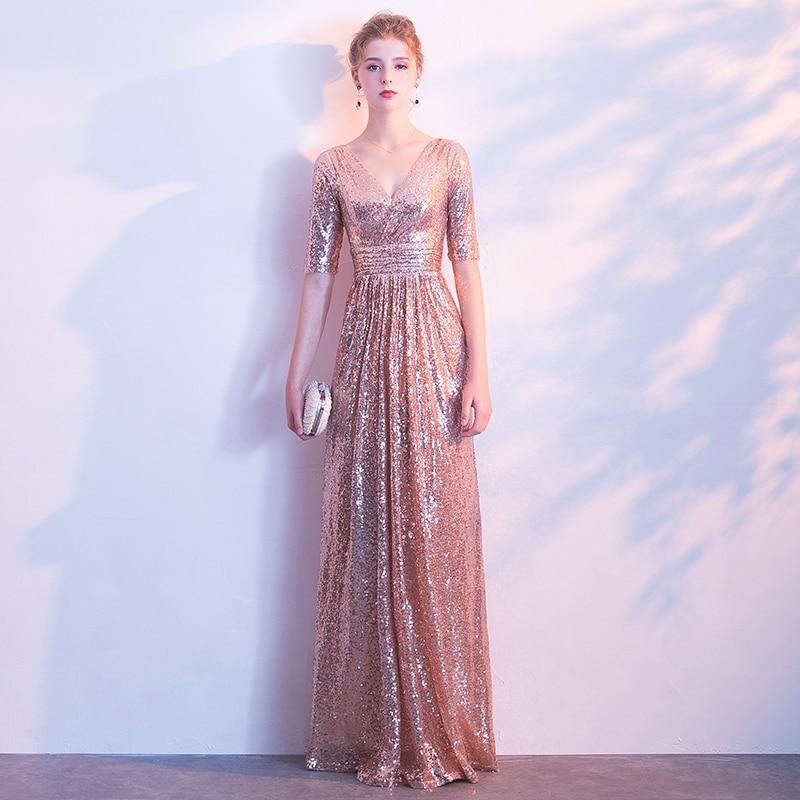 Half Sleeves Sequin Bridesmaid Dresses V Neck Floor Length Robe Demoiselle D'honneur New Style Vestido Madrinha