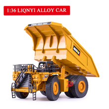 1:36 Simulation Alloy Mining Truck Model Dump Sliding Two-level Tipper Childrens Toy Car Boy Gift for