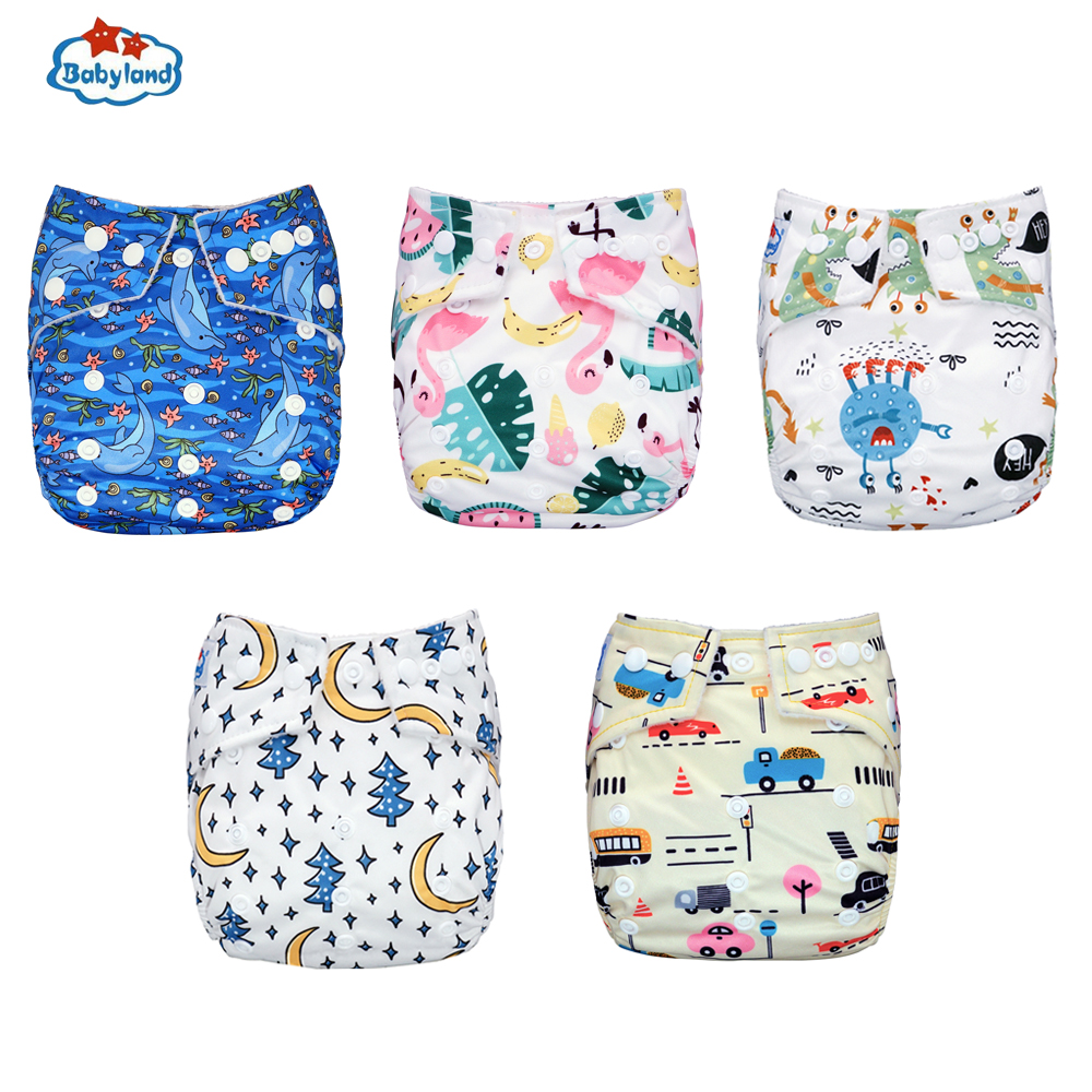 Babyland Baby Diaper 1PC /Pack Cloth Nappy Reusable Diaper Cover 3kg-15kg Baby Pocket Nappy Covers My Pick Newest Prints Diapers