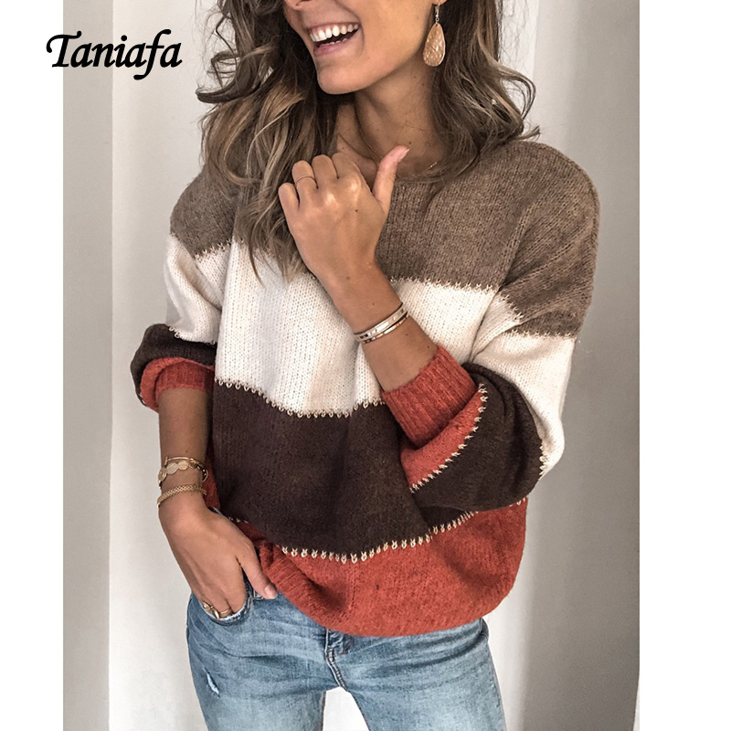 Taniafa Women Round Neck Color Stitching Pullover Sweater Winter Warm Fashion Pullover Knitting Knitwear Plus Size S~5XL