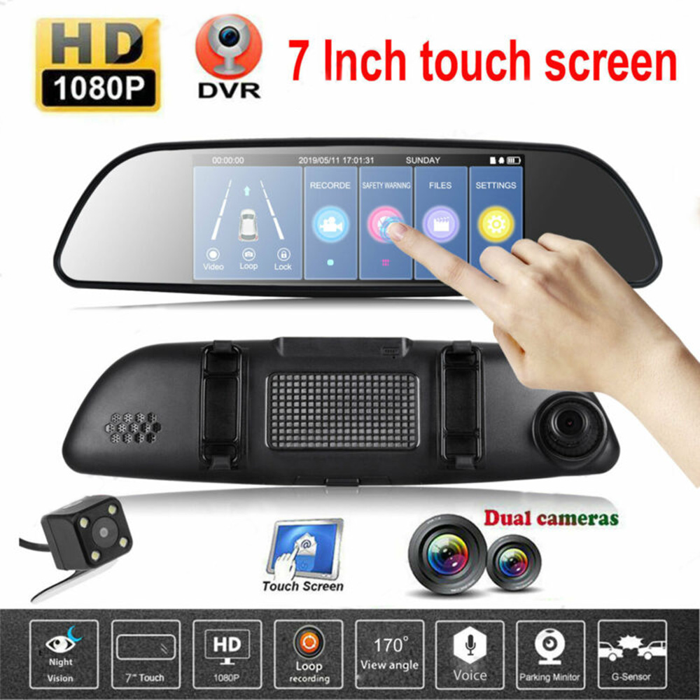 Neueste Auto DVR Full HD 1080P 7 Zoll IPS Touch Video Recorder Kamera Dual Objektiv mit Rückansicht Kamera auto Registrator Dash Cam