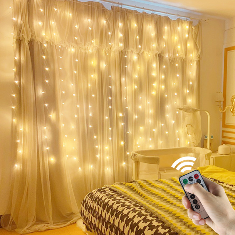 3x3m String Lights Christmas LED Fairy Lights USB Remote Curtain Garland For Wedding Party Window Garden Outdoor Home Decoration