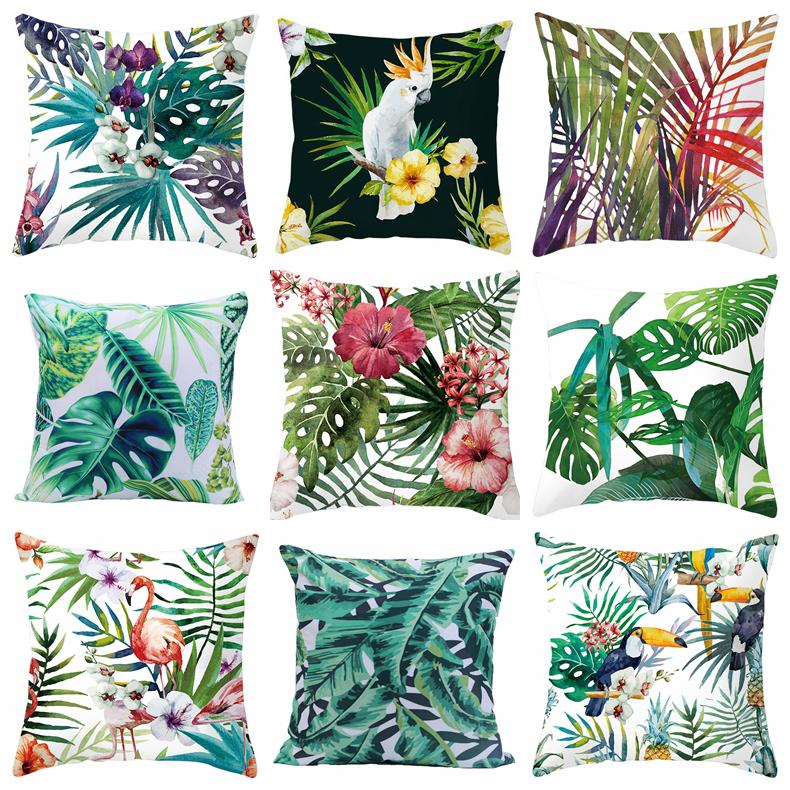 Plant And Flower Cushion Cover 45x45cm Green Leaves Patterned Pillowcase Cheap Square Shape