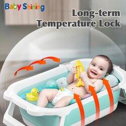 Baby Glänzende Falten Badewanne 0-6Y Tragbare Temperatur Erinnerung Neugeborenen Sitzen Liegen Große Bad Eimer Baby Produkt Geschenk Junge Mädchen