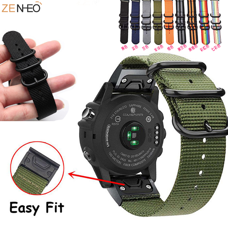 26 22 20MM Nylon Schnell einfach Fit uhr band Für Garmin Fenix 6X 6 6S /5X 5 5 S Plus / Fenix 3 /3 HR/ 935 945 Smart Armband