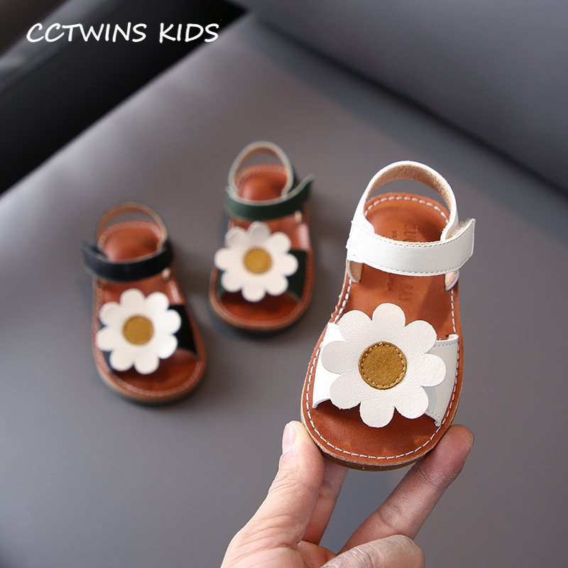 CCTWINS Kids Shoes 2020 Summer Baby Girls Fashion Flower Shoes Children Black Princess Sandals Toddlers Brand Soft Flat PS913