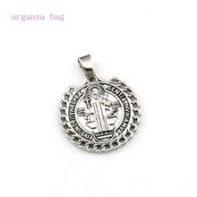 50pcs Saint St Benedict de Nursia badge medal Dangle Charm Beads Fit necklace DIY Jewelry Antique silver 25.5x31.5mm