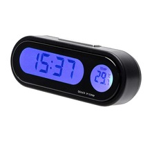 2 In 1 Car Kit Electronic Thermometer Clock LED Digital Disp