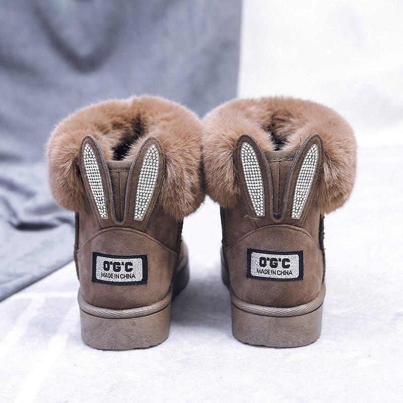 Hiver femmes bottes noeud papillon neige bottes solide femmes bottines sans lacet Femme Chaussures décontractées bout rond Chaussures Femme