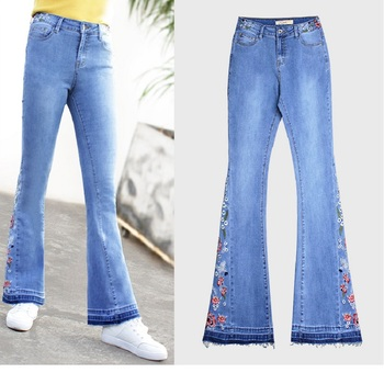 Embroidery Plus Size Flared Jeans for Women Blue Skinny Stretch High Waist Denim Pants New Arrival 2019 Autumn Casual Trousers brand new arrival high quality female jeans casual high waist women jeans skinny denim pants black blue trousers plus size s 6xl
