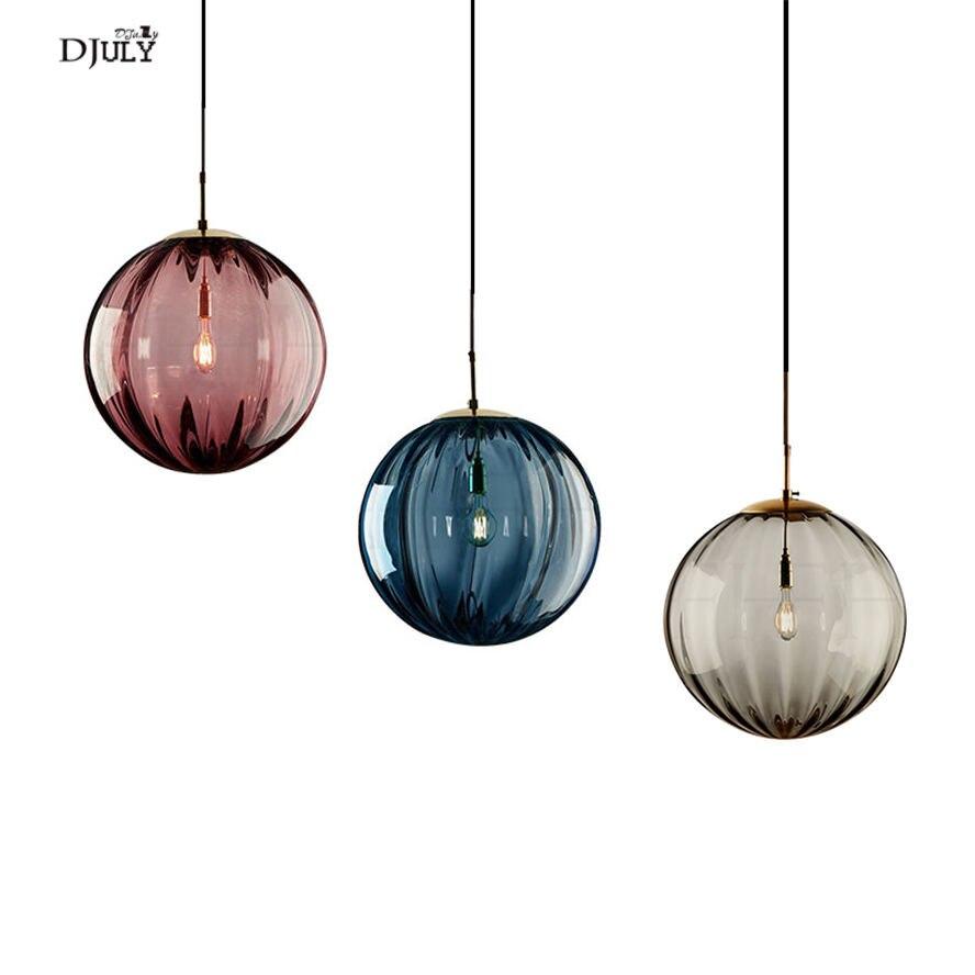 Nordic Colorful Glass Globe Pendant Lights For Cafe Bar Restaurant Art Deco Suspended Led Luster Bedside Hanging Lamp Fixtures